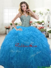 Hot Sale Beaded Bodice and Ruffled Quinceanera Dress in Aqua Blue YYPJ064-1FOR