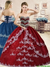 Inexpensive Beaded and Applique Quinceanera Dress in Wine Red YYPJ049FOR