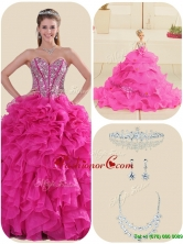 New Style Fuchsia Quinceanera Gowns with Ruffles and Beading LFY091906CFOR