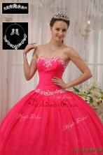 Latest Ball Gown Appliques Quinceanera Dresses in Coral Red  QDZY566BFOR