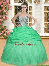 Latest Beaded and Ruffled Organza Quinceanera Dress in Spring Green  YSQD006-2FOR