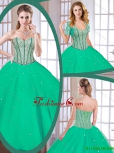 Latest Green Sweetheart Quinceanera Gowns with Beading SJQDDT177002FOR