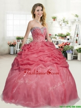 Latest Organza Coral Red Quinceanera Dress with Beading and Pick Ups YYPJ051-2FOR