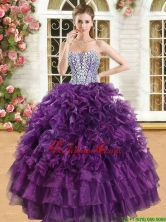 Latest Purple Big Puffy Quinceanera Dress with Beading and Ruffles YSQD013-1FOR