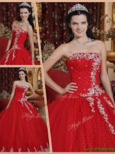 Latest Red Ball Gown Strapless Quinceanera Dresses  QDZY7527AFOR