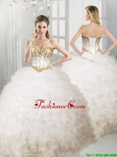 Lovely Big Puffy White Quinceanera Dress with Beading and Ruffles YYPJ041FOR