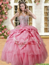 Lovely Coral Red Big Puffy Quinceanera Dress with Beading and Pick Ups YSQD009-2FOR