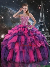 Luxurious 2016 Fall Beaded and Sweetheart Quinceanera Dresses in Multi Color QDDTA103002FOR