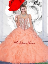 Luxurious 2016 Fall Orange Ball Gown Straps Quinceanera Dresses with Beading QDDTA116002FOR