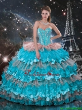 Luxurious 2016 Fall Sweetheart Quinceanera Dresses with Beading and Ruffled Layers QDDTA112002FOR