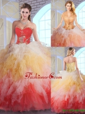 Luxurious Appliques and Ruffles Quinceanera Dresses in Multi Color SJQDDT143002FOR