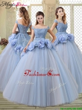 Luxurious Bateau Lavender Quinceanera Dresses  with Hand Made Flowers YCQD056FOR