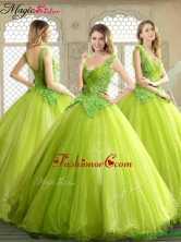 Luxurious Beading and Appliques Quinceanera Dresses in Yellow Green YCQD005FOR