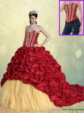 Luxurious Beading and Pick Ups Sweet 16 Dresses with Brush Train SJQDDT194002FOR