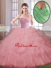 Luxurious Beading and Ruffles Quinceanera Dresses in Watermelon SJQDDT176002-2FOR