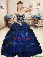 Luxurious Navy Blue Brush Train Quinceanera Dress with Beading and Pick Ups YYPJ057-1FOR