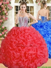 Luxurious Red Big Puffy Quinceanera Dress with Beading and Ruffles YSQD010FOR