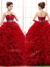 Luxurious Sashed and Ruffled Sweet 16 Dress in Wine Red YCQD089FOR
