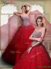 Luxurious Strapless Beading Quinceanera Dresses in Wine Red YCQD038FOR