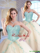 Modern Appliques and Sequins Quinceanera Gowns in Champagne SJQDDT153002FOR