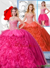 Modest Ball Gown Straps 2016 Detachable Quinceanera Dresses SJQDDT127001FOR