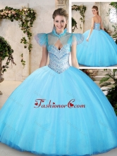 Modest Sweetheart Aqua Blue Quinceanera Dresses with Beading SJQDDT215002FOR