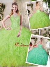 Modest Sweetheart Quinceanera Dresses with Appliques and Ruffles SJQDDT228002FOR
