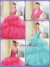 Modest V Neck Quinceanera Dresses with Appliques and Ruffles SJQDDT232002FOR