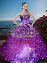 New Arrivals Applique and Ruffled Layers Quinceanera Gown in Organza and Taffeta XFQD1182FOR