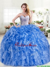 New Arrivals Beaded and Ruffled Blue Quinceanera Dress in Organza YYPJ045-2FOR