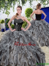 New Arrivals Beaded and Ruffles Quinceanera Dresses in Black QDDTE2002AFOR