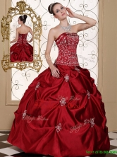 New Arrivals Embroidery Wine Red Strapless Quinceanera Dresses  MLD090710AFOR