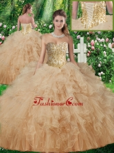 New Arrivals Sweetheart Quinceanera Gowns with Beading and Ruffles in Champagne SJQDDT339002FOR