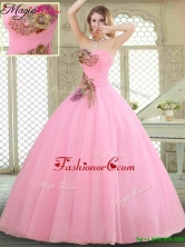 New Style Rose Pink Quinceanera Gowns with Beading and AppliquesYCQD039FOR