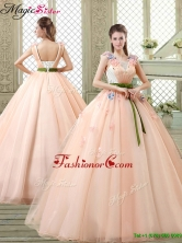 New Style Straps Quinceanera Dresses with Appliques and Belt YCQD012FOR