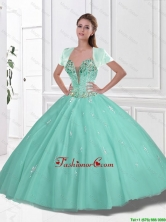 New Style Sweetheart Beaded Quinceanera Gowns in Apple Green SJQDDT107002FOR
