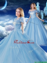 Off the Shoulder Brush Train Applique Quinceanera Gown with Removable Cap Sleeves XFQD1186FOR
