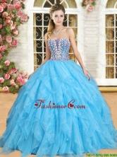 Perfect Beaded and Ruffled Aqua Blue Sweet 16 Dress in Organza YSQD012-1FOR
