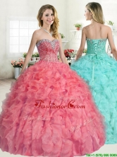 Perfect Beaded and Ruffled Quinceanera Dress in Coral Red YYPJ052FOR