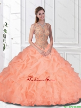 Perfect Beaded and Ruffles Watermelon Quinceanera Gowns with Bateau SJQDDT109002FOR
