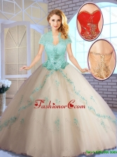 Perfect Champagne Sweet 16 Dresses with Appliques SJQDDT142002-2FOR