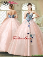 Perfect Strapless Sweet 16 Gowns with Appliques and Embroidery YCQD003FOR