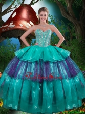 Perfect Sweetheart Beaded Quinceanera Dresses with Ruching for 2016  Fall QDDTA82002FOR