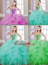 Popular Ball Gown Quinceanera Dresses with Beading and Ruffles SJQDDT172002FOR