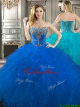 Popular Beaded Bodice and Ruffled Really Puffy Quinceanera Dress in Royal Blue YYPJ021FOR
