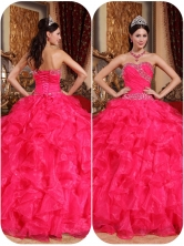 Popular Coral Red Ball Gown Quinceanera Dresses with Beading QDZY032BFOR