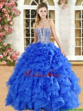 Popular Organza Royal Blue Quinceanera Gown with Beading and Ruffles QDDTA122002-1FOR