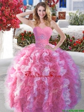 Popular Rose Pink and White Quinceanera Dress with Beading and Ruffles YYPJ005FOR