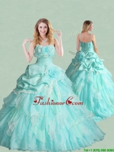 Popular Spaghetti Straps Brush Train Quinceanera Dress with Handcrafted Flowers and Bubbles XFQD1193FOR
