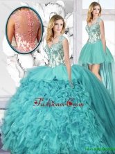 Popular Straps Detachable Quinceanera Dresses with Appliques and Ruffles SJQDDT128001FOR